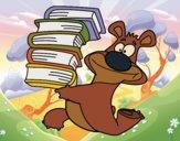Desenho Urso com livros pintado por Craudia
