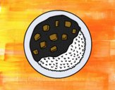Prato de arroz com molho