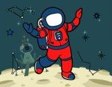 Um astronauta no espaço da estrela