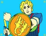 Cavaleiro com escudo de leão