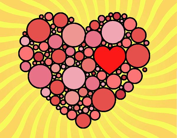 Desenho Coração com círculos pintado por Craudia