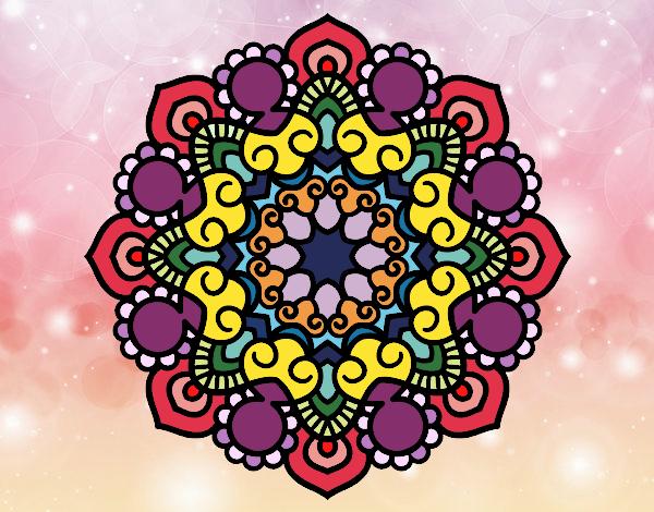 Desenho Mandala reunião pintado por Fernandam