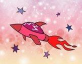 Desenho Navio do foguete espacial pintado por Natani