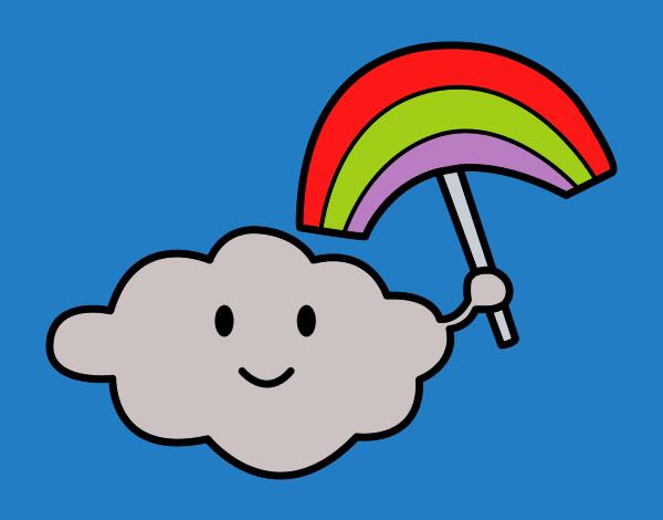 Desenho Nuvem com arco-íris pintado por Craudia