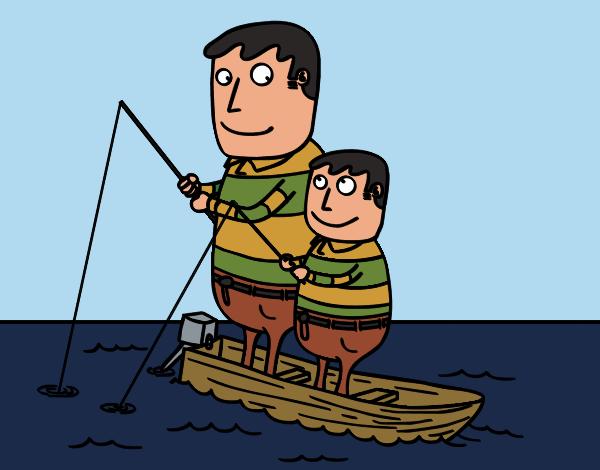 Desenho Pai e filho de pesca pintado por Craudia