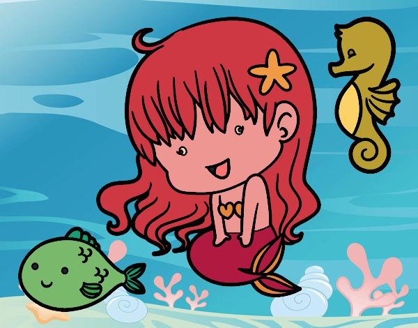 Desenho Pequena sereia e seus amigos pintado por Craudia