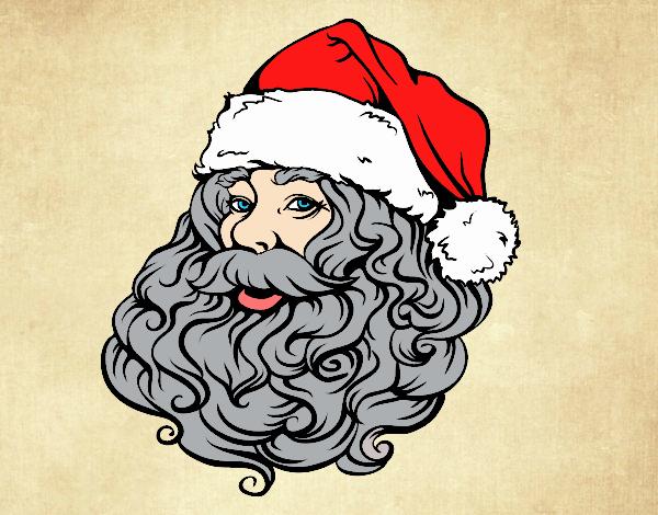 Desenho Rosto de Papai Noel para o natal pintado por Fernandam