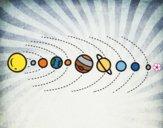 Desenho Sistema solar pintado por Natani