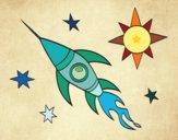 Desenho Um foguete aeroespacial pintado por Natani