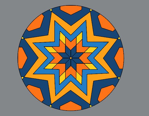 desenho de mandala mosaico estrela pintado e colorido por usuário