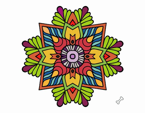 desenho de uma mandala em mosaico pintado e colorido por usuário não