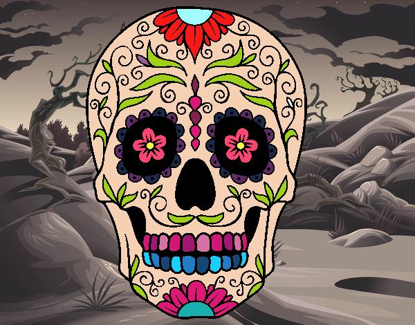 Desenho De Caveira Mexicana Pintado E Colorido Por Usuário