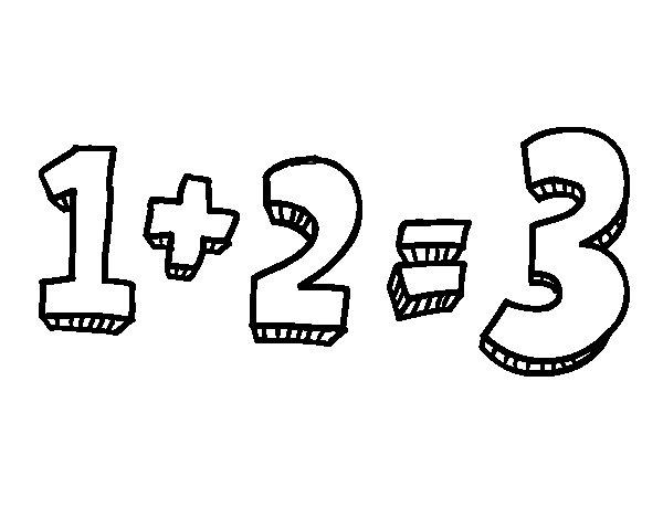 Desenho de 1+2=3 para Colorir