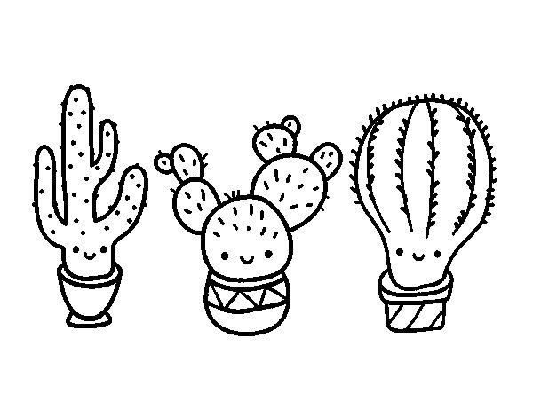 Desenho de 3 mini cactos para Colorir