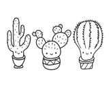 Desenho de 3 mini cactos para colorear