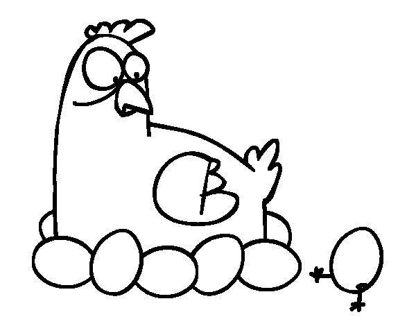 Desenho de A incubação de galinha para Colorir