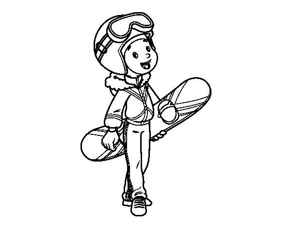 Desenho de A menina Snowboard para Colorir