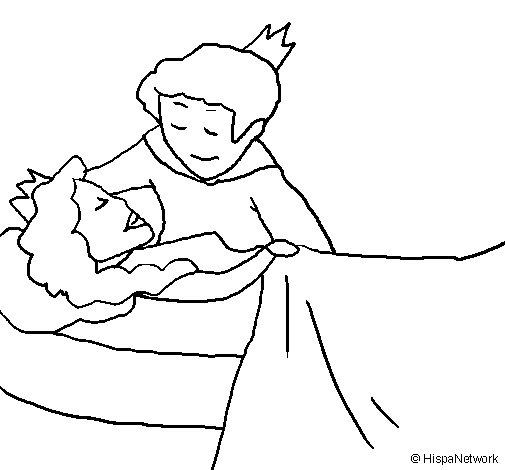 Desenho de A princesa a dormir e o príncipe para Colorir