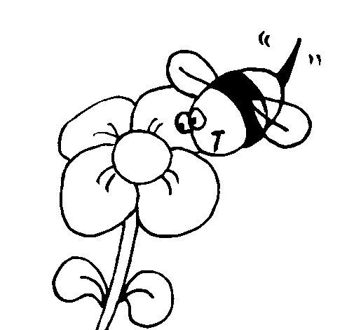Desenho de Abelha e flor para Colorir