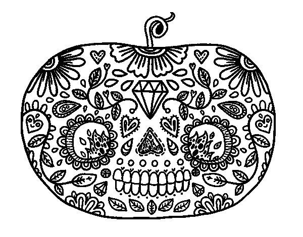 Desenho de Abóbora de dia dos mortos para Colorir