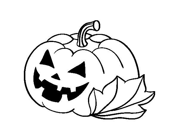 Desenho de Abóbora de halloween decordada para Colorir