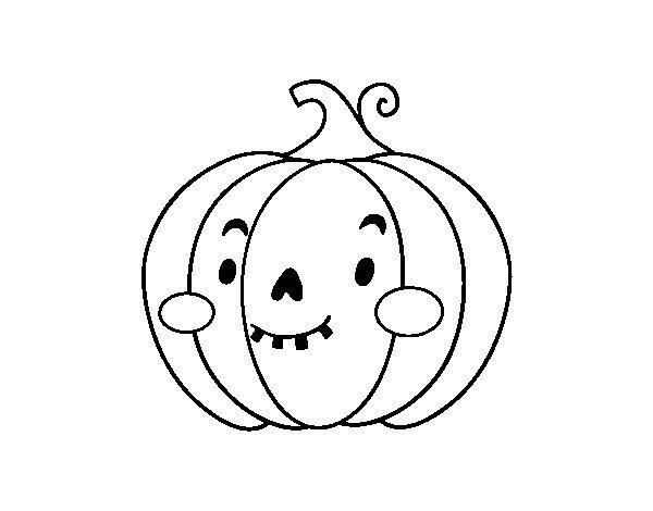 Desenho de Abóbora simpático para Colorir