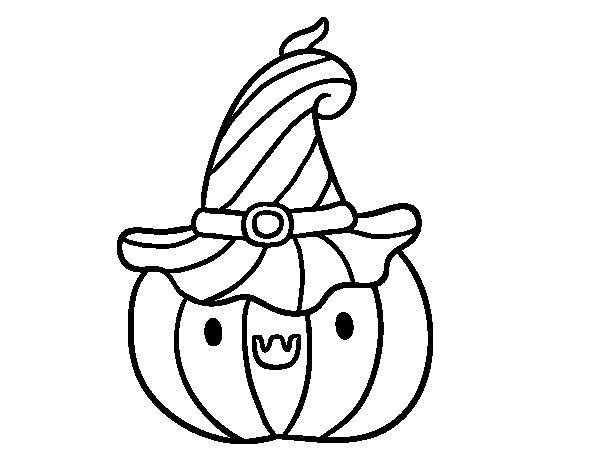 Desenho de Abobrinha o Dia das bruxas para Colorir