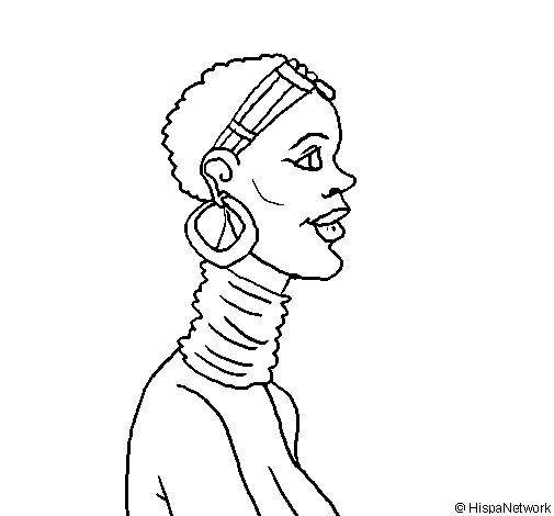 Desenho de Africana para Colorir
