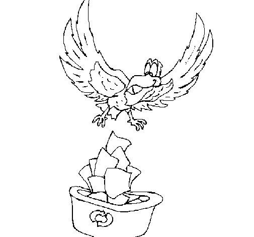 Desenho de Águia a recliclar para Colorir