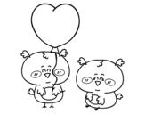 Desenho de Alguns passarinhos apaixonados para colorear