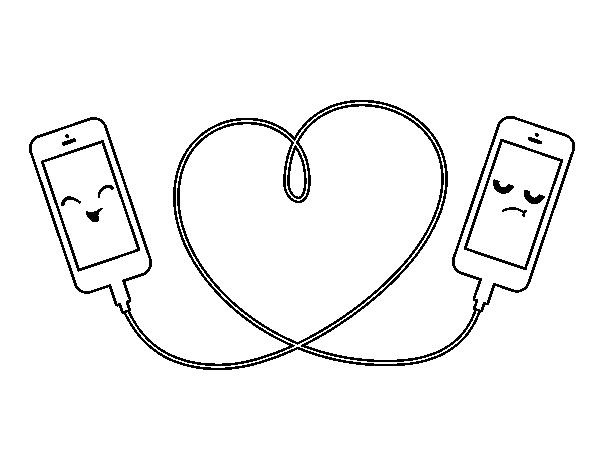 Desenho de Amor celular para Colorir - Colorir.com
