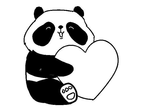 Desenho de Amor Panda para Colorir - Colorir.com