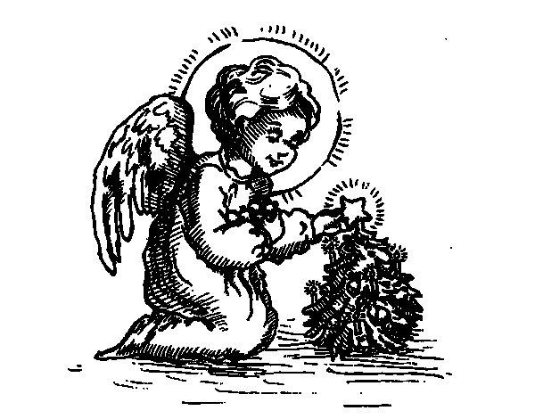 Desenho de Anjinho natalício para Colorir