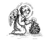 Desenho de Anjinho natalício para colorear