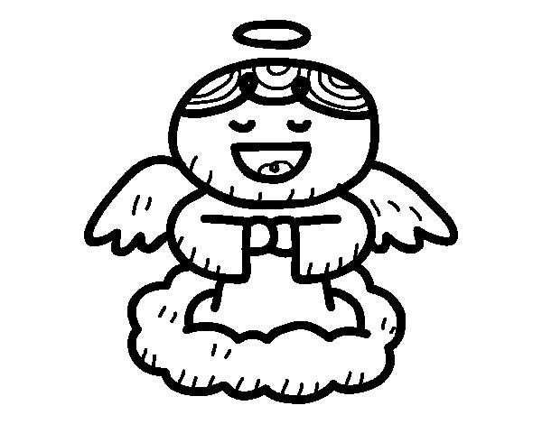 Desenho de Anjo a cantar para Colorir