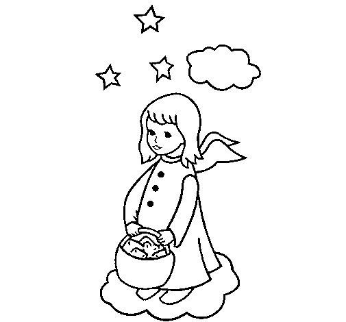 Desenho de Anjo com cesta para Colorir