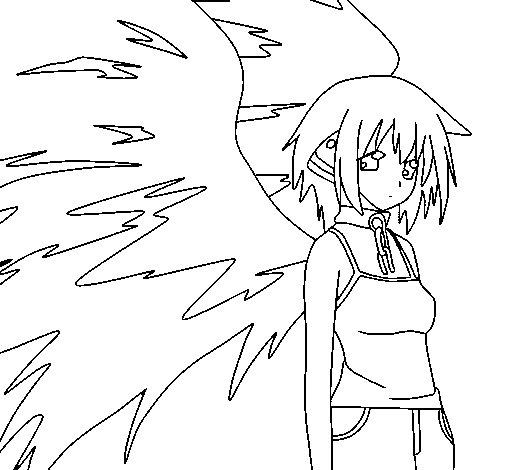Desenho de Anjo com grandes asas para Colorir