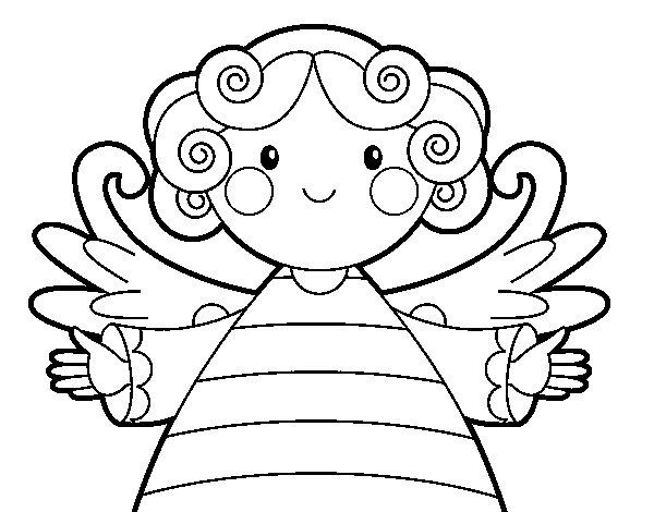 Desenho de Anjo de natal para Colorir