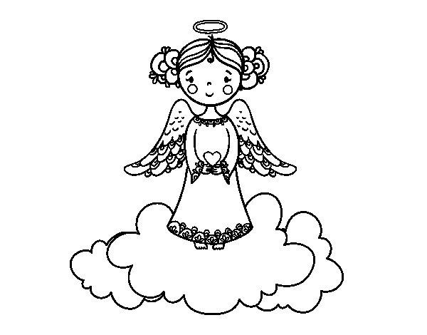 Desenho de Anjo do Natal para Colorir