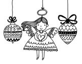 Desenho de Anjo e enfeites de Natal para colorear