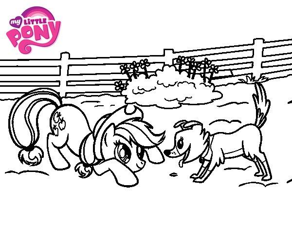 Desenho de Applejack i Winona para Colorir