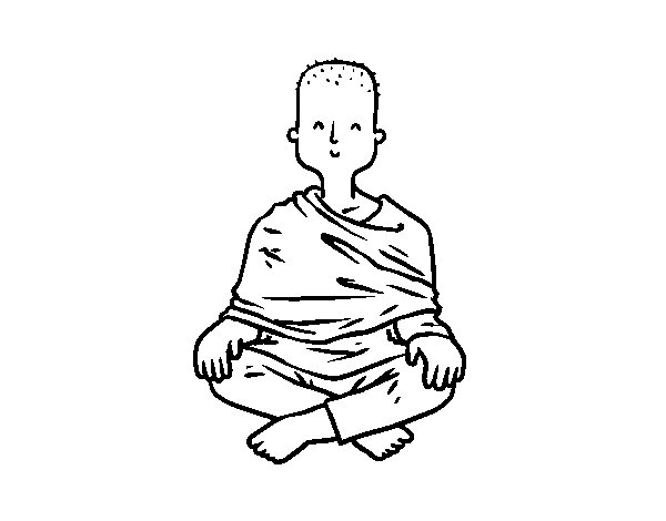 Desenho de Aprendiz budista para Colorir