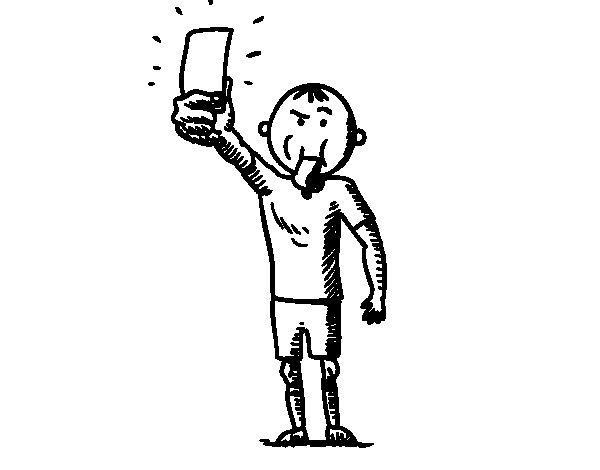 Desenho de Árbitro tomando cartão para Colorir