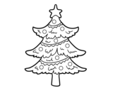 Desenho de Árvore de Natal decorada para colorear