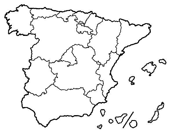 Desenho de As Comunidades Autónomas de Espanha para Colorir