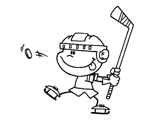 Desenho de As crianças aprendem a jogar hockey para Colorir