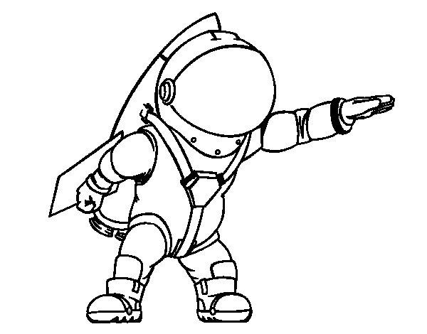 Desenho de Astronauta com foguete para Colorir