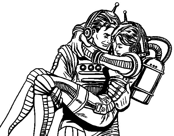 Desenho de Astronautas apaixonados para Colorir