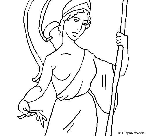 Desenho de Atena para Colorir