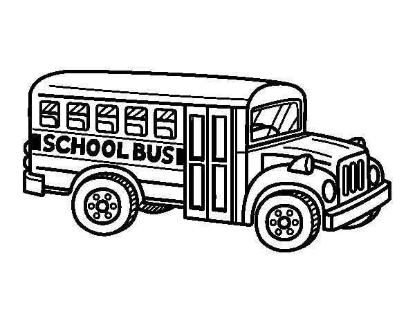 Desenho de Autocarro Escolar dos Estados Unidos para Colorir
